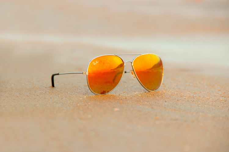 close up of rayban sunglasses